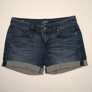 Ann Taylor Loft Rolled Cuff Denim Short Shorts